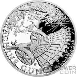 MACHINE GUN 500th Anniversary Leonardo Da Vinci 1 Oz Moneta Argento 1$ Niue 2019