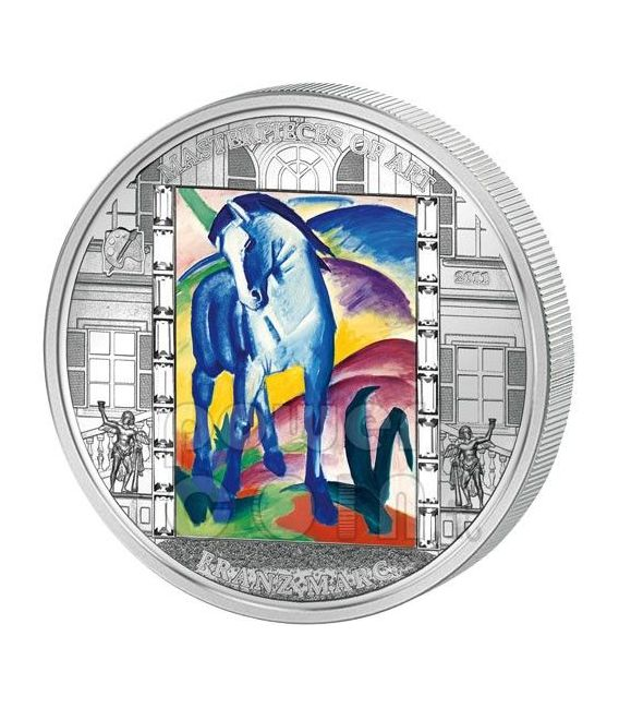 FRANZ MARC Blue Horse 3 Oz Silber Münze 20$ Cook Islands 2011