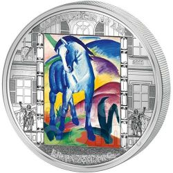 FRANZ MARC Cavallo Blu 3 Oz Moneta Argento 20$ Cook Islands 2011