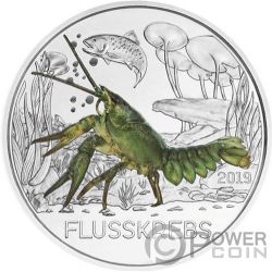 CRAWFISH Cangrejo Rio Colourful Creatures Glow In The Dark Moneda 3€ Euro Austria 2019