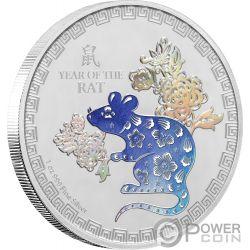 YEAR OF THE RAT Крыса Лунная Монета Коллекция 1 Oz Монета Серебро 2$ Ниуэ 2020