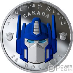 OPTIMUS PRIME Transformers Moneta Argento 25$ Canada 2019
