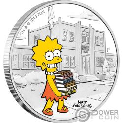LISA Симпсон 1 Oz Серебро Монета 1$ Тувалу 2019