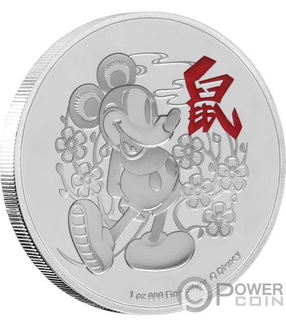 YEAR OF THE MOUSE Anno Topo Mickey Mouse Lunar Coin Collection Disney 1 Oz Moneta Argento 2$ Niue 2020