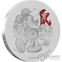 YEAR OF THE MOUSE Anno Topo Mickey Mouse Lunar Coin Collection Disney 1 Oz Moneta Argento 2$ Niue 2020