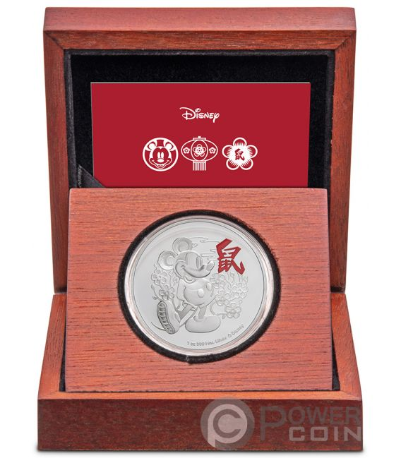YEAR OF THE MOUSE Год крысы  Mickey Mouse Lunar Coin Collection Disney 1 Oz Монета Серебро 2$ Ниуэ 2020