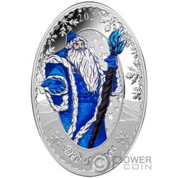 FATHER FROST SNOW MAIDEN Matrioska 1 Oz Moneta Argento 5$ Solomon Islands 2020