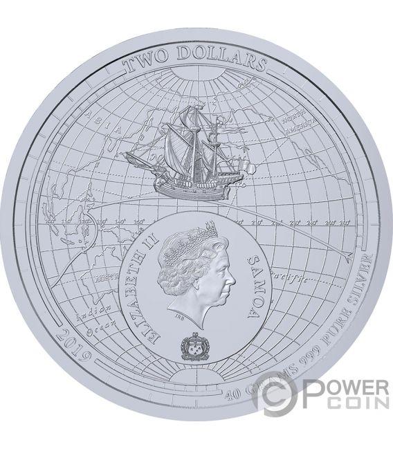 CIRCUMNAVIGATION EARTH 500th Anniversary Magellan Silber Münze 2$ Samoa 2019