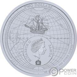 CIRCUMNAVIGATION EARTH 500th Anniversary Магеллан Монета Серебро 2$ Самоа 2019