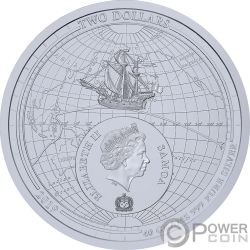CIRCUMNAVIGATION EARTH 500th Anniversary Magellano Moneta Argento 2$ Samoa 2019