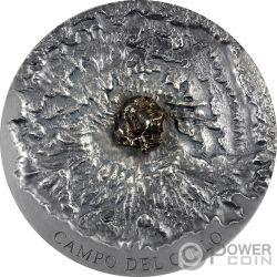 CAMPO DEL CIELO Meteorite Art 5 Oz Moneta Argento 5000 Francs Chad 2018