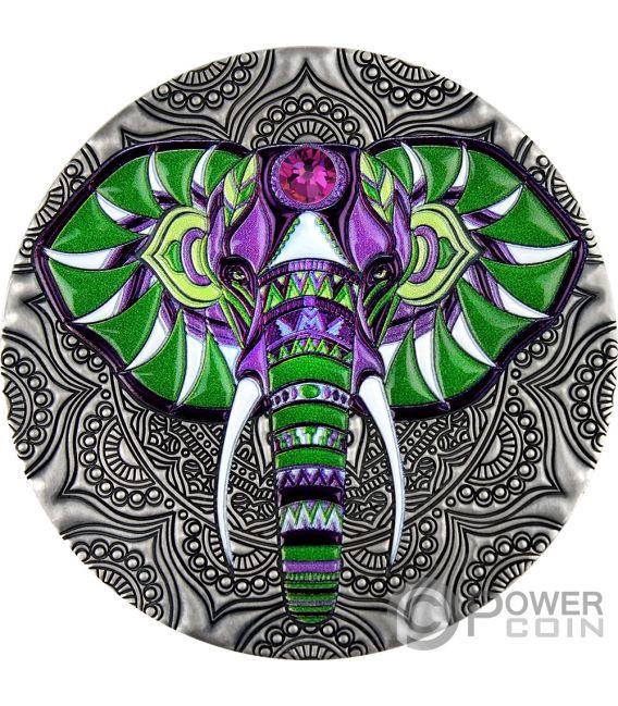 ELEPHANT Mandala Art 2 Oz Moneta Argento 5$ Niue 2019