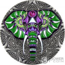 ELEPHANT Mandala Art 2 Oz Silber Münze 5$ Niue 2019