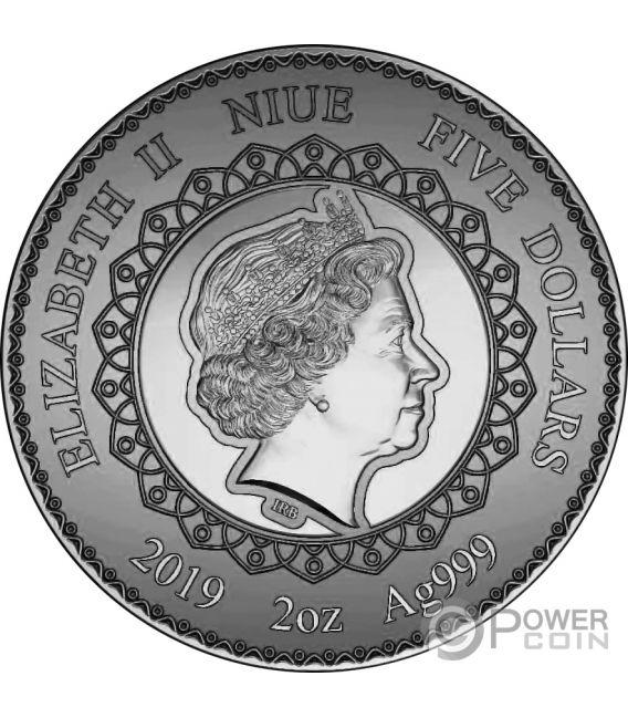 ELEPHANT Mandala Art 2 Oz Монета Серебро 5$ Ниуэ 2019