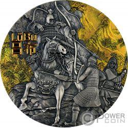 LU BU Warriors of Ancient China Gold Plating 3 Oz Silver Coin 5$ Niue 2019