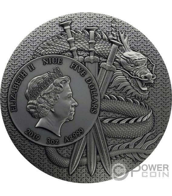 LU BU Warriors of Ancient China Placcatura Oro 3 Oz Moneta Argento 5$ Niue 2019