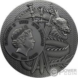 LU BU Warriors of Ancient China Покрытие Золото 3 Oz Монета Серебро 5$ Ниуэ 2019