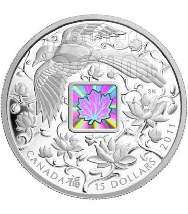 MAPLE OF HAPPINESS Hologram Silver Coin 15$ Canada 2011