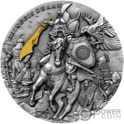 CHINGGIS KHAAN Gengis Placcatura Oro 2 Oz Moneta Argento 5$ Niue 2019