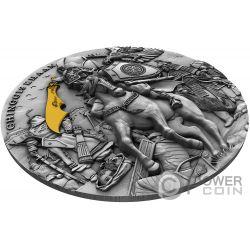 CHINGGIS KHAAN Gengis Vergoldung 2 Oz Silber Münze 5$ Niue 2019