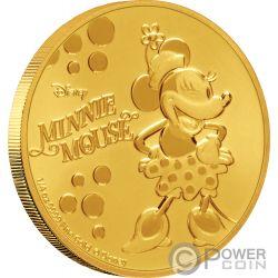 MINNIE MOUSE Lunares Disney 1/4 Oz Moneda Oro 25$ Niue 2019