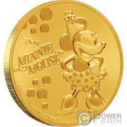 MINNIE MOUSE Pois Disney 1/4 Oz Moneta Oro 25$ Niue 2019