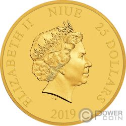 MINNIE MOUSE Горошек Disney 1/4 Oz Монета Золото 25$ Ниуэ 2019