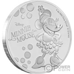 MINNIE MOUSE Pois Disney 1 Oz Moneta Argento 2$ Niue 2019