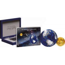 MOON LANDING Aterrizaje Lunar 50 Aniversario Set 2 Monedas 5$ 10$ Barbados 2019