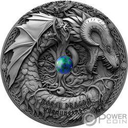 NORSE DRAGON Azurite Dragons 2 Oz Silver Coin 2$ Niue 2019