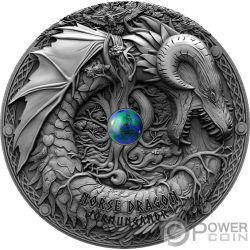 NORSE DRAGON Drago Azurite Dragons 2 Oz Moneta Argento 2$ Niue 2019