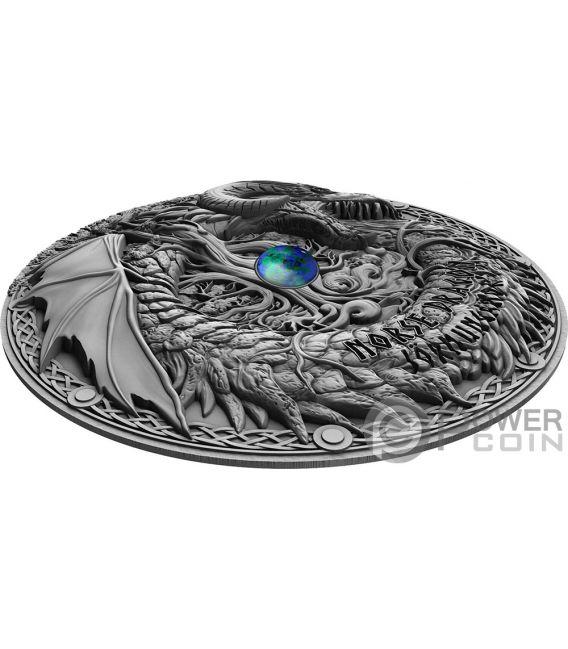 NORSE DRAGON Drago Azurite Dragons 2 Oz Moneta Argento 2$ Niue 2019
