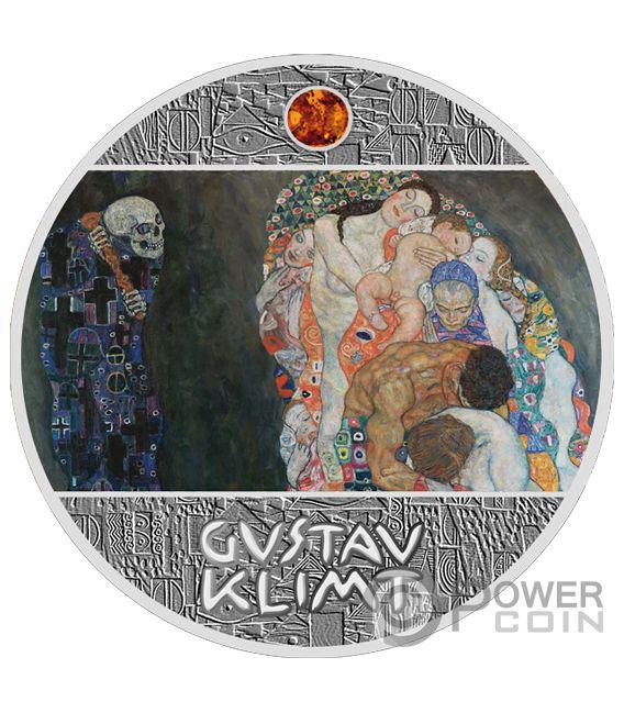 DEATH AND LIFE Bernstein Gustav Klimt Golden Five Silber Münze 1$ Niue 2019