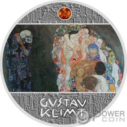 DEATH AND LIFE Ambar Gustav Klimt Golden Five Moneda Plata 1$ Niue 2019