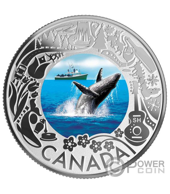 WHALE WATCHING Wal Fun and Festivities Silber Münze 3$ Canada 2019