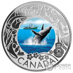 WHALE WATCHING Balena Fun and Festivities Moneta Argento 3$ Canada 2019