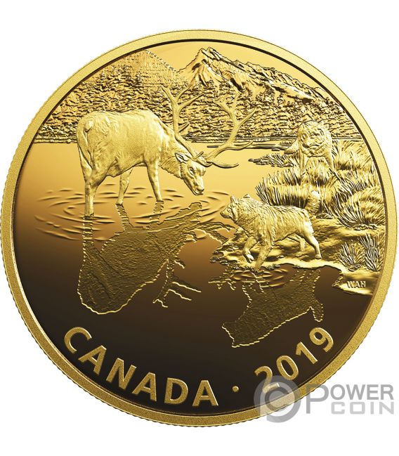 WOLVES AND ELK Golden Reflections 2 Oz Silver Coin 30$ Canada 2019