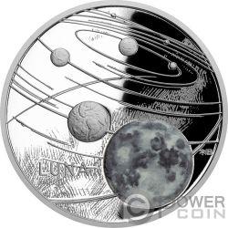 MOON Luna Solar System 1 Oz Moneta Argento 1$ Niue 2019