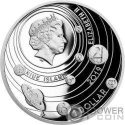 MOON Luna Solar System 1 Oz Moneda Plata 1$ Niue 2019