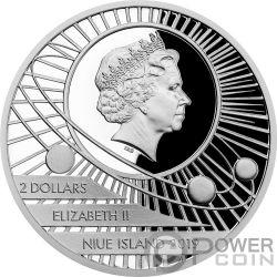 MOON LANDING Solar System 1 Oz Moneda Plata 2$ Niue 2019