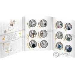 HARRY POTTER Wizarding World Hogwarts Набор 24x1 Oz Монета Серебро 50 Центов Самуа 2020
