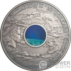 CHICXULUB CRATER Asteroide Meteorites 3 Oz Moneda Plata 20$ Cook Islands 2019