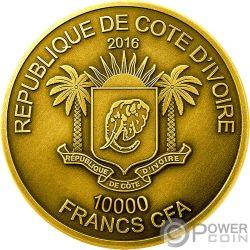 LION Лев Big Five Mauquoy 5 Oz Монета Золото 10000 Франков Кот-д'Ивуар 2016