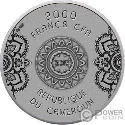 MANDALA Wheel of Life 2 Oz Moneta Argento 2000 Franchi Cameroon 2019