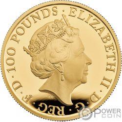 WHITE LION Mortimer Queen Beasts 1 Oz Moneda Oro 100£ United Kingdom 2020