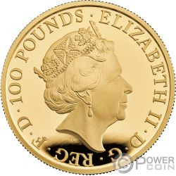 WHITE LION Mortimer Queen Beasts 1 Oz Moneta Oro 100£ United Kingdom 2020