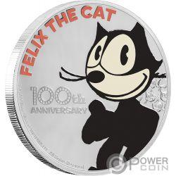 FELIX THE CAT Gatto 100 Anniversario 1 Oz Moneta Argento 2$ Niue 2019
