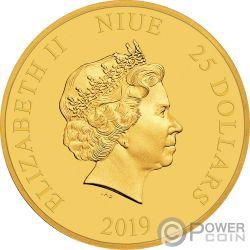 FELIX THE CAT Gatito 100 Aniversario 1/4 Oz Moneda Oro 25$ Niue 2019
