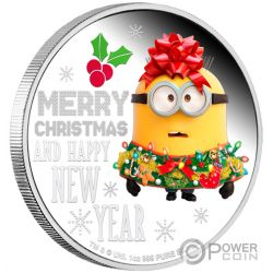 MINION MADE Season Greetings 1 Oz Moneta Argento 2$ Niue 2019