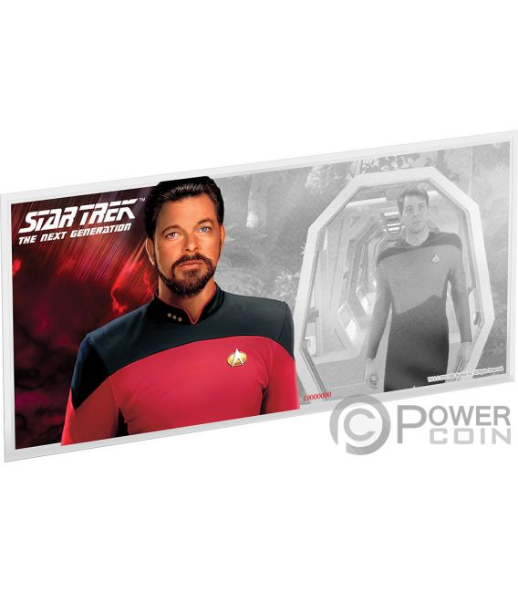 WILLIAM RIKER Star Trek Next Generation Characters Foil Silver Note 1$ Niue 2019